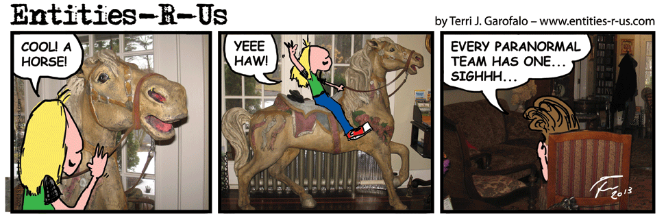 We were advised not to ride this horse as he was not made of sturdy stuff. But, Merv is light. He's only a cartoon.